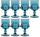 7 Vintage Indiana Glass KINGS CROWN THUMBPRINT Blue 5 3 4 Goblets 8 Ounce