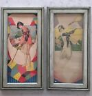 Original Pair of French 1930s Art Deco Prints Signed Ladies Sport Golf Tennis