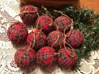 10 Christmas Red Tartan Plaid Homespun Fabric Rag Balls Primitive Ornaments A43