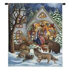SNOWFALL NATIVITY HAND FINISHED EUROPEAN STYLE WALL TAPESTRY