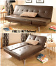 Sofa Bed Comfort TV Movie Couch Brown Faux Leather Wood Frame Settee Home Office