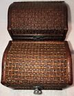 Wooden wicker Jewelry Boxes 2 Small Treasure Chest Wood with Metal Latches