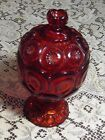 Vintage LE Smith Ruby Red Stars and Moon Pedestal Covered Compote Footed