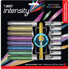 BIC Intensity Metallic Permanent Markers Fine Point Assorted Colors 8 Pack