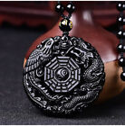 100% Natural Black Obsidian Carved Dragon Phoenix Lucky Amulet Pendant Necklace