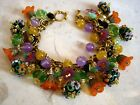 Statement Lampwork Bracelet Glass Crystal Charms Vintage Miriam Haskell Chain