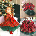 US Toddler Baby Girl Autumn Outfit Clothes Dress Tops+Tulle Skirt 2PCS Set Xmas