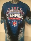 Chicago Cubs 2016 World Series Champions Liquid Blue Tie-Dye T-Shirt X-Large