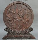 Old China Huanghuali Wood Hand-Carved peony flower Phoenix Lucky Screens statue