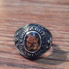 Boy Scouts of America Ring Silver Tone Orange Brown Stone BSA Ring Size 95