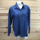 Vtg Woolrich Denim Shirt Large Jean Long Sleeve Button Front Pockets USA B72