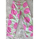 Lilly Pulitzer  Vintage Green  Pink SeaShell Pants Cropped Size 6