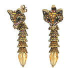 Betsey Johnson Womens Topaz and Gold Fox Front Back Earrings