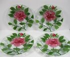 Sydenstricker pink Rose green leaves Fused Art Glass Bread and Butter 4 plates