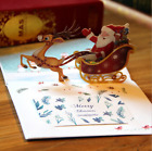 USChristmas Santa Claus Xmas 3D Pop Up Greeting Cards with Small Note Card Gift