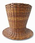Antique Wicker Top Hat Lampshade Basket Weave  RARE Unique Vintage Great Shape