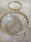 Vintage Culver Chip and Dip Bowl With Gold/Green Design Arcoroc France