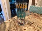 Vtg Drinking Glass w/ Gold Turquoise Purple Diamonds Atomic!
