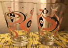 TWO Vintage Mid Century Libbey Pink Black Atomic Seville Tumblers Glasses 1950s