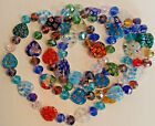 Blue Rainbow Millefiori Glass Heart Crystal Bead Necklace Hand Knotted Italy 46