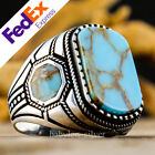 925 Sterling Silver Turkish Handmade Turquoise Stone Mens Luxury Ring All Sizes