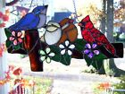Stained Glass Birds on a Fence Sun catcher Real Glass