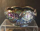 BLACK AMETHYST CARNIVAL GLASS HOBSTAR BOWL L.E. SMITH 7' 'EXC COND EAPG