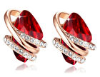 Leafael Wish Stone Swarovski Crystal 18K Rose Gold Plated Red Earrings