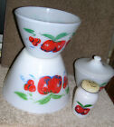 Four Pcs. Fire king Mixing Bowls Grease Jar And Pepper Apple Cherries