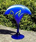 Cobalt Blue Art Glass Pulled Feather Artist Signed Iridescent Stretch Williams