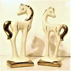 VINTAGE Ceramic Horses COLLECTIBLE  Cream and Gold Beautiful Mid Century