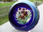 D SALAZAR Threaded GLASS paperweight BLUE IRISES and BUTTERFLY Signed