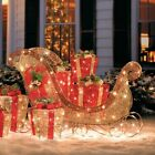 Outdoor Lighted Glittering Gold Champagne Sleigh Sculpture Christmas Yard Decor