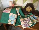 's Green Maple Leaf Floral Lot of 2 Quilt Pieces