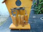 VINTAGE WOODEN KITCHEN SET TOOL BEER WINE OPENER WALL HANGING HOLDER FAP