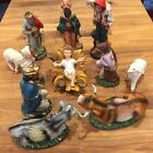 Vtg Christmas Nativity 12 Piece Set Made in Italy Jesus in Crib Cow with Horns