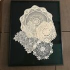 ANTIQUE CROCHETED DOILIES PROFESSIONALLY FRAMED PRISTINE CONDITION