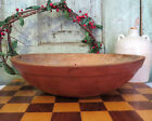 Old Primitive Turned Wood Wooden Farmhouse Dough Bowl Rim Rimmed Red Paint 13