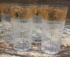LOT OF 4 CULVER 22 KT GOLD HIGH BALL TYROL GLASSES VERTICAL FROSTED RIB LINES