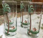 4 VINTAGE LIBBEY TOM COLLINS GLASSES PALM COCONUT TREE POLYNESIAN MAN IN BOAT