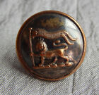 Antique Livery Picture Button Lion w/ Banner Back Marked London  #005-B