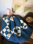 Antique Vintage Old 1800s Indigo Blue Hand Quilted Patchwork Quilt Piece #1