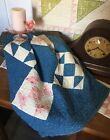 Antique Vintage Old 1800s Indigo Blue Hand Quilted Patchwork Quilt Piece #2