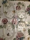 Vintage Clear Glass Serving Snack Tray Set With Tea Cup And Grape Pattern Design