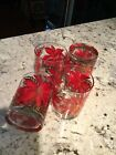 CULVER USA CHRISTMAS POINSETTIA GOLD DOUBLE OLD FASHIONED Set of FOUR (4) NIB