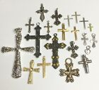 Lot of Religious Cross Pendants Charms For Jewelry Making Crafts Scrapbooking