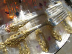 ONE NEW LARGE GOLDEN SALAD FORK GORHAM CROWN BAROQUE STERLING SILVER GOLD HEAVY
