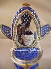 Russian Imperial NATIVITY musical Cobalt Blue enamel Egg with pendant Necklace