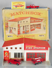 VINTAGE MATCHBOX LESNEY NoMF A FIRE STATION COLLECTION W BOXTRUCKS