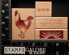 ALL NIGHT MEDIA RUBBER STAMPS SET 4 ROOSTER BABY CHICKS CELTIC SUN SCRIPT WORDS